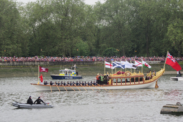 View of the Queen's rowbarge Gloriana proceeding up the Thames in 2012