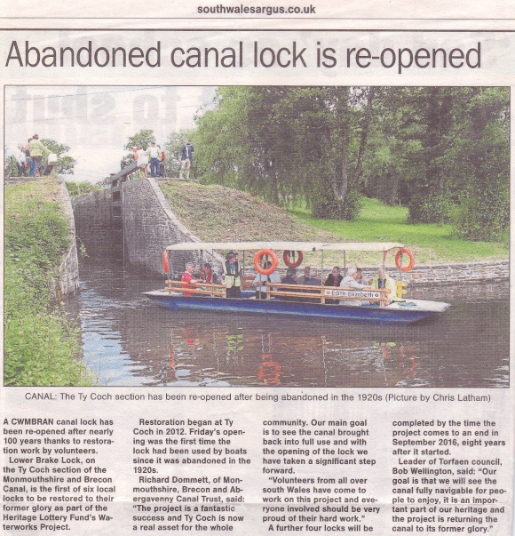 Lower Brake Lock Reopened July 2016, South Wales Argus