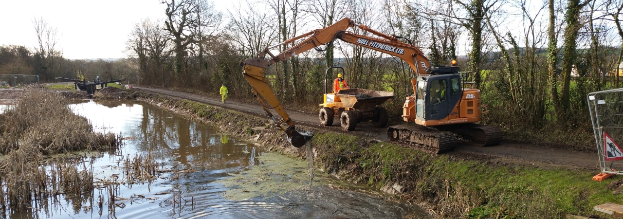 Machinery restoring the Mon & Brec Canal