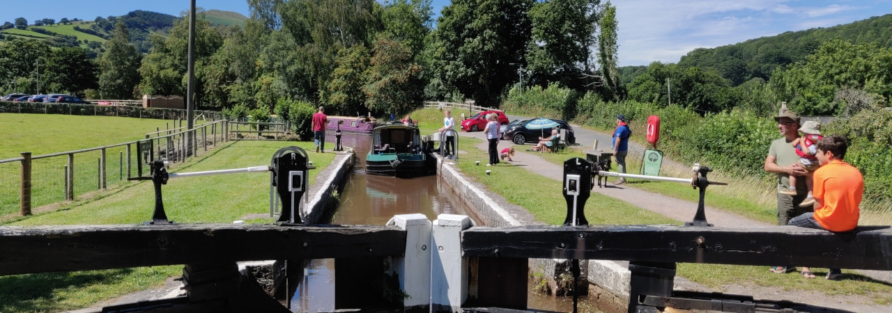 A busy day at Lock 64 at Llangynidr