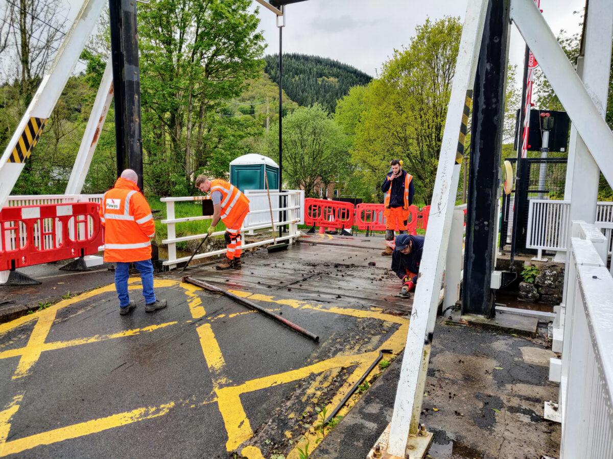 Replacing the road surface on the Talybont Drawbridge
